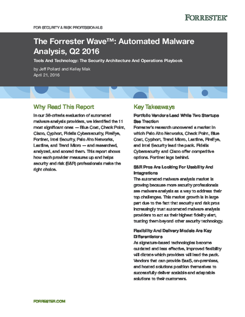 Putting Lastline First; The Forrester Wave Automated Malware Analysis Report