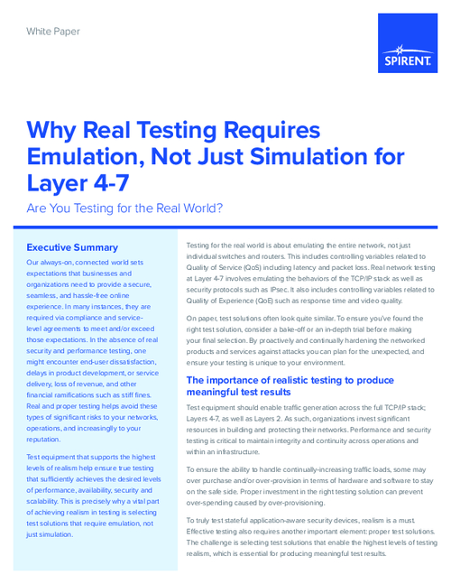 Why Real Testing Requires Emulation, Not Just Simulation for Layer 4-7