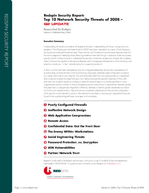 Redspin Security Report: Top 10 Network Security Threats of 2008 - Q2 Update