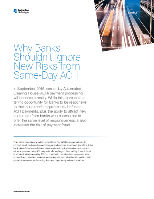 Ignoring Risks from Same-day ACH Will Cost You Big