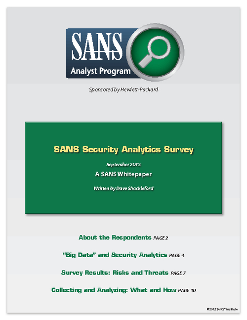 SANS Security Analytics Survey