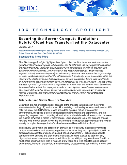 Securing the Server Compute Evolution: Hybrid Cloud Has Transformed the Datacenter