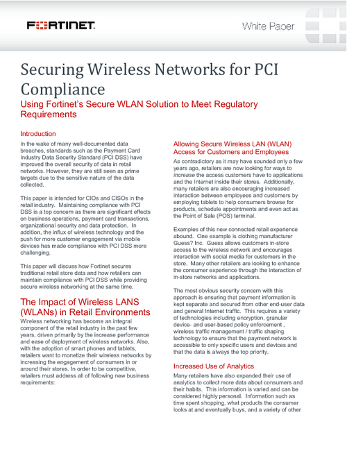 Securing Wireless Networks for PCI Compliance