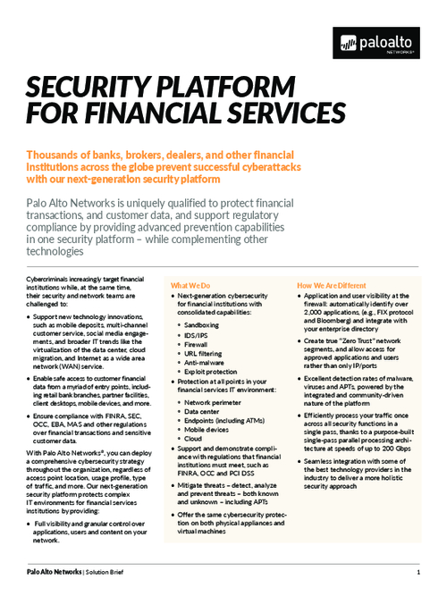 Security Platform for Financial Services