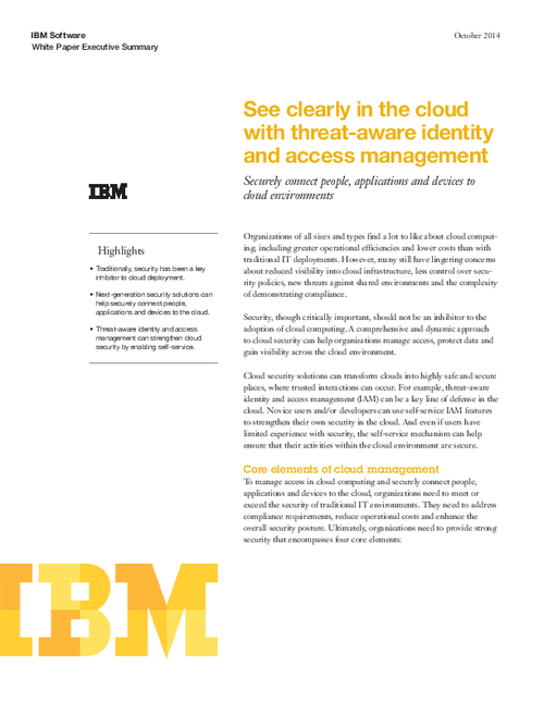 See Clearly in the Cloud - Securely Connect People, Applications and Devices to Cloud Environments