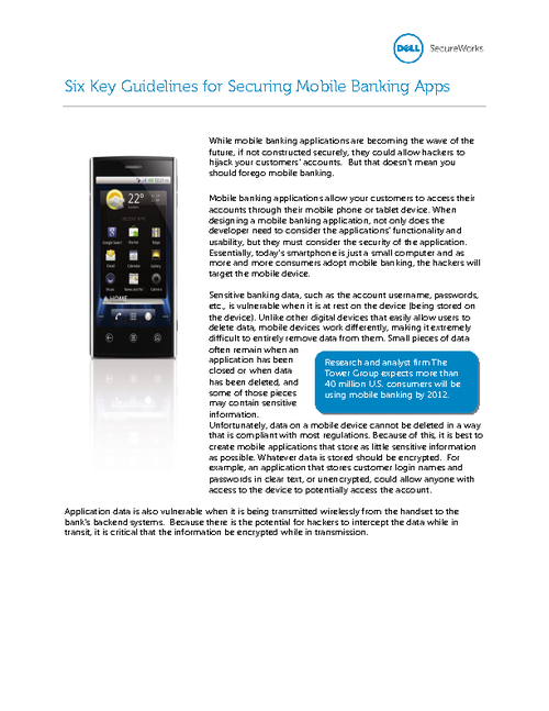 Six Key Guidelines for Securing Mobile Banking Apps