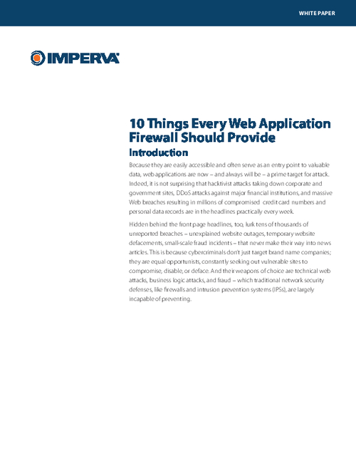 Ten Features Every Web Application Firewall Should Provide