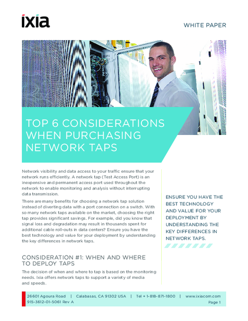 Top 6 Considerations When Purchasing Network Taps