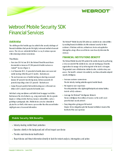 Webroot Mobile Security SDK Financial Services
