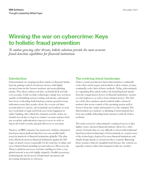 Winning the War on Cybercrime: The Four Keys to Holistic Fraud Prevention